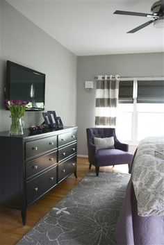 Master Bedroom by Yellow Cape Cod, the. I would use a green rather than purple. Love the color choices!