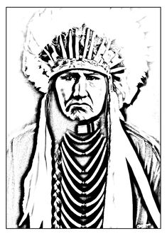 Free coloring page coloring-adult-native-american-indian. Coloring picture of a great Indian Chief