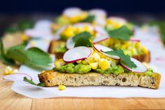 Grilled Corn Crostini with Avocado and Radish