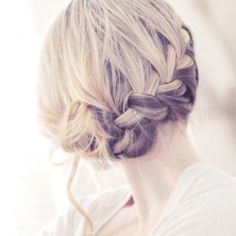 waterfall braid into a side bun