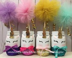 giggling unicorn mason jar set unicorn birthday party