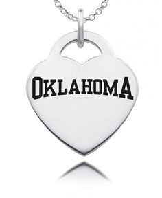 Show your spirit in style! Our heart charm is made from solid sterling silver. State of the art laser technology helps us duplicate your favorite logo in exact detail. These charms are designed to stand up to everyday wear and tear. As with any high quality jewelry item, the more you wear it the better it looks!  #oklahoma #university #heart #charm #OK #sooners #boomer #sooner
