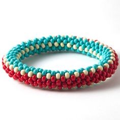bead crochet bangle turquoise red bone   Flickr - Photo Sharing!