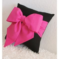 "Items similar to Pink and Black Bow Accent - Throw Pillow (1) 12"" x 12"" - Made Upon Order - by pillowsbycindee on Etsy on Etsy"