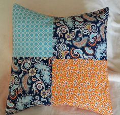 Pillow Cover  16 x18 Orange Blue Aqua by GwensCreativeCottage, $15.00