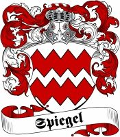 Spiegel  family crest / coat of arms from www.4crests.com #coatofarms #familycrest #familycrests #coatsofarms #heraldry #family #genealogy #familyreunion #names #history #medieval #codeofarms #familyshield #shield #crest #clan #badge #tattoo