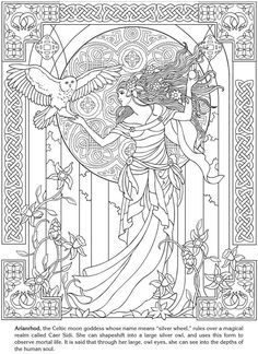 Free coloring page coloring-adult-arianrhod-celtic-goddess. Arianrhod, Celtic moon goddess : drawing with Art Nouveau style