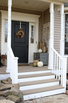 Add risers to the deck steps for a more finished look. TAUPE rustoleum restore deck