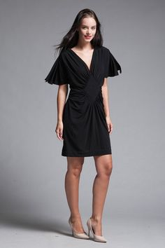 1b01ada7235 mini dress black knit gathered front split butterfly sleeves vintage 70s  MEDIUM M Vintage Clothing Online