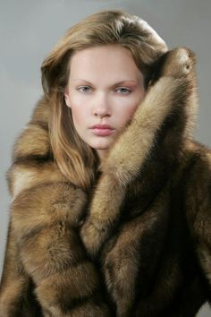 Sable fur coat with dramatic collar