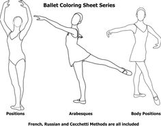 Ballet body position coloring pages