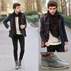 Boxfresh Shoes, Jack & Jones Striped Sweater, Black Skinny Jeans, Wholesale 7 Coat, Bag, Embroidered Scarf