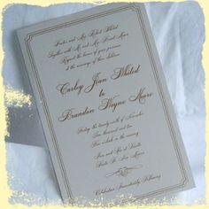 #rositadesigns custom simple wedding invitation sets #gold #cream #sparkle #metallic