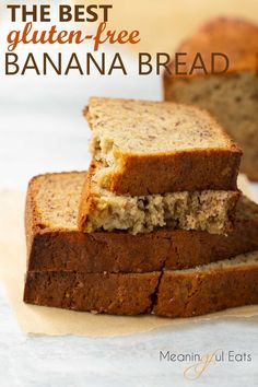 The Best Gluten-Free Banana Bread! EASY to make with perfect texture and delicious flavor! Sure to become your go-to gluten-free banana bread recipe! The Best Gluten-Free Banana Bread! EASY to make with perfect texture and delicious flavor! Cookies Gluten Free, Gluten Free Sweets, Gluten Free Cooking, Dairy Free Recipes, Gluten Free Breads, Gluten Free Bread Recipe Easy, Gluten Free Casserole, Celiac Recipes, Gluten Free Diet