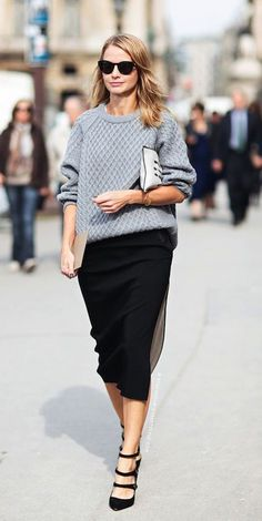 Cable knit gray sweater and pencil skirt. See more gray sweaters on ShopStyle.com.