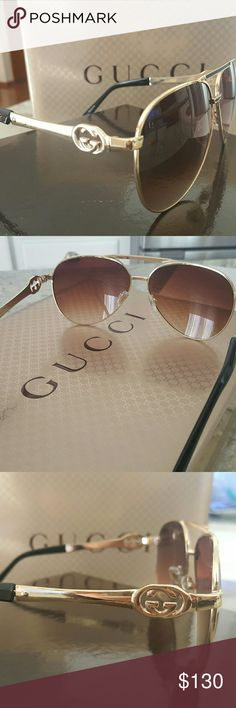 Gucci Sunglasses Avaitor Gold Visor BRAND NEW 100% authentic Gucci sunglasses Brand new! Made in Italy Retail price $398  Wonderful christmas gift.  P@ypal price $95 free shipping (646) 693-6697 Text/Call  Any questions please ask!!! Gucci Accessories Sunglasses