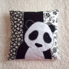 "Appliqued decorative Panda pillow cover black and white cotton size 16""x16"". $37.00, via Etsy."