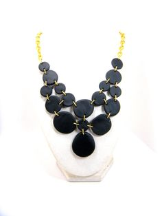 black polymer clay statement necklace with gold by baubleheadz, $26.00