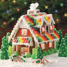 This such a colorful cottage with a roof made from colorful gumdrops. Candy cane sticks used here fro the porch posts and the gumdrops brought down from the roof to the front door porch makes this ...