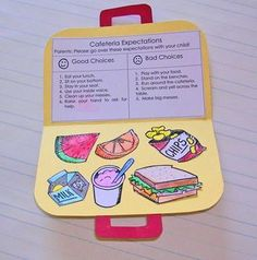 cute activity for teaching lunchroom expectations