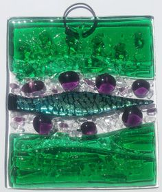 Fused Glass Abstract Nautical Green by GreenCircleGlassArt on Etsy, $11.00