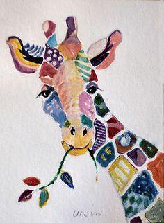 Nfac ACEO Patchwork Giraffe Zoo Animal Wild Giraffes Ursin Mini Ptg | eBay