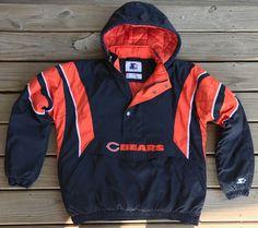 f14eba4660e8 RARE Chicago Bears VINTAGE 1 2 Zip Pullover 90s Jacket STARTER Size XL NFL  please retweet