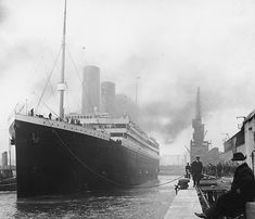 """The RMS Titanic departed from Southampton, England on its maiden voyage to New York City on April 10, 1912."", history, never forget, photo, black and white, boat, water"