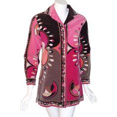 Emilio Pucci Pink  Signature Print Velvet Coat, Circa 1960