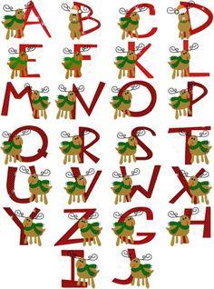 Reindeer Alphabet 4x4 hoop size Formats: pes, dst, exp, shv, vp3, vip, hus, xxx and jef