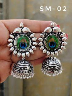 Jhumkas, German silver, picture earrings,handmade, Radha Krishna jhumkas, Meera jhumkas, Lord Ganesh