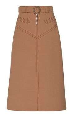 Matango Belted Twill Midi Skirt by Ellery Leather Peplum, Leather Midi Skirt, Pleated Skirt, High Waisted Skirt, Skirt Outfits, Classy Outfits, Chiffon Tops, Girl Fashion, Jeans