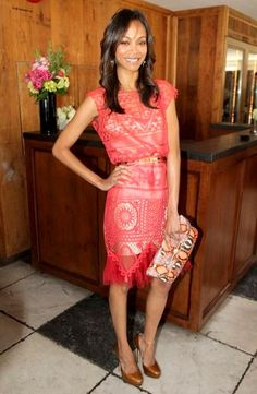 Zoe Saldana in crocheted dress
