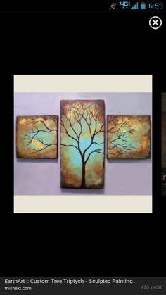 Multiple canvas barren tree