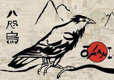 Entry for the 2008 Okami competition The Yatagarasu (Three legged jungle crow) is the symbol of the sun goddess Amaterasu. This is my original design for it. Kanji on left states 'Yatagarasu&#...