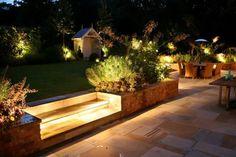 Creative of Outdoor Backyard Lighting Ideas Outdoor Charming Garden Ideas With Fabulous Outdoor Lighting Design Patio, Exterior Design, Garden Design, Backyard Designs, Container Food, Outdoor Garden Lighting, Outdoor Decor, Pathway Lighting, Design Tropical