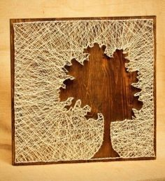 tree silhouette string art diy decoration ideas nice use of negative space String Art Diy, Nail String, Crafts To Do, Arts And Crafts, Arte Linear, Cuadros Diy, Diy Wall, Wall Art, Ideias Diy
