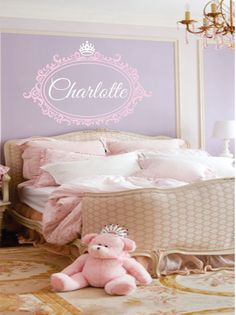 Custom name decal princess crown with shabby chic frame - elegant baby nursery - girl teen - monogram vinyl lettering. Elegant Baby Nursery, Baby Nursery Themes, Girl Nursery, Girls Bedroom, Nursery Ideas, Room Ideas, Monogram Wall Decals, Personalized Wall Decals, Princess Nursery