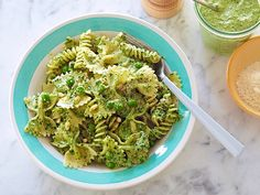 Pasta, Pesto, and Peas recipe from Ina Garten via Food Network.used whole wheat pasta and added a pound of sautéed sweet Italian sausage. Pesto Pasta, Pasta Salad, Basil Pesto, Green Pesto, Parsley Pesto, Quinoa Pasta, Pasta Bar, Al Dente, Salads