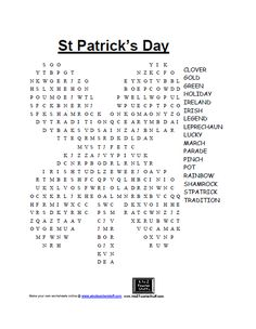 Free Printable: St Patrick's Day word search and other St Patrick's Day games.