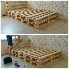 HI! Today i will show you how to make simple bed frame from standard EUR pallets (120 cm x 80 cm) for a 100 cm x 200 cm bed. It took me about 4-5 hours to complete, designing as we went. Materials:7 standard EUR pallets (120 CM long x 80 cm wide) In Europe, all pallets are safe to use - just look for HT for heat treated. But i ordered a new pallets, so i'm fully sure that they are safe for health. If you will use old pallets, make sure your pallets don't have nasty stuff on them b… Wood Pallet Beds, Pallet Bed Frames, Diy Pallet Bed, Pallet Furniture, Bed With Pallets, Pallett Bed, Pallet Bed With Lights, Room Design Bedroom, Room Ideas Bedroom