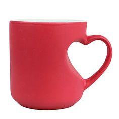 "Elegant Mug with Heart-shape Handle, Ceramic 3""*3""*4"", Multi-color – CAD $ 17.85"