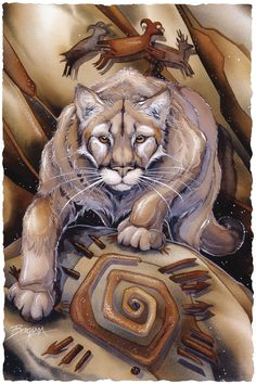 Make It Happen, Jody Bergsma, Bergsma Gallery Press :: Paintings :: Nature :: Wild Land Animals :: Wild Cats - Prints Native American Animals, Native American Artwork, Art And Illustration, Fantasy Kunst, Fantasy Art, Animal Paintings, Animal Drawings, Tattoo Indien, Power Animal