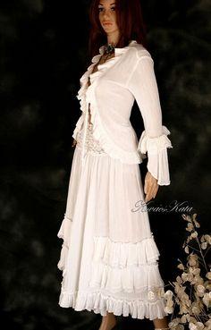 Bohemian White Gauze Loose Romantic Pants Like by BohemianAngels