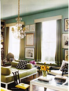 pretty blue green living room