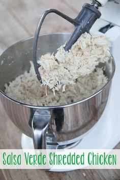 Slow Cooker Salsa Verde Shredded Chicken ~ three ingredients, gluten free, and freezer friendly! | 5DollarDinners.com
