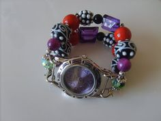 Double Stranded Halloween Beaded Watch Band Set (194) on Etsy, $25.00