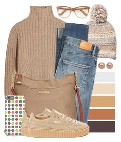 """""""OOTD - Camel Sweater"""" by by-jwp ❤ liked on Polyvore featuring Steve Madden, Totême, Citizens of Humanity, Calvin Klein, Puma and Wildfox"""