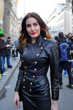 Designer Leather Fashions Ece Sukan in the classic Michael Hoban Military style leather dress in black… This sighting was Fashion Week in Paris in 2009 - Closeup