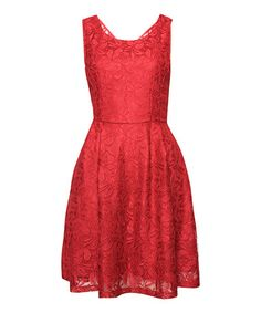 Another great find on #zulily! Cherry Red Lace Sleeveless Fit & Flare Dress #zulilyfinds